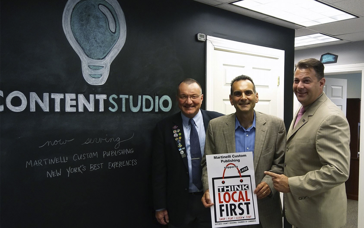 Pete Bardunias, Thomas Martinelli, and Frank M. Castella Jr., in the new office of Content Studio at Martinelli Custom Publishing.