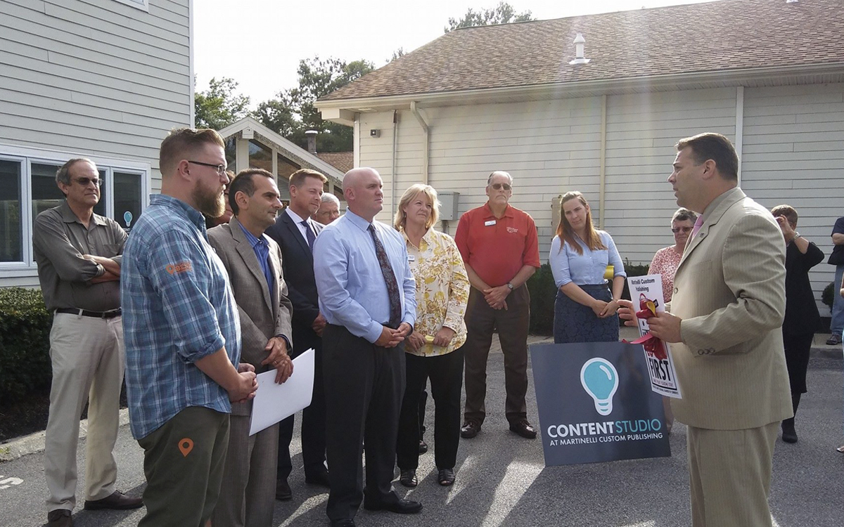 Frank M. Castella Jr., President and CEO of Dutchess County Regional Chamber of Commerce giving a congratulatory speech at the Content Studio ribbon cutting.